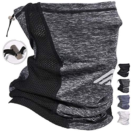 Adjustable Neck Gaiters Face Mask UV Proof Protection Dust Cycling Mask Balaclava Scarf Face Mask Breathable Bandana Mask Face Coverings for Men Women Headbands Heather Grey