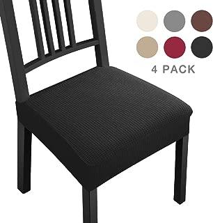 Fundas para sillas Pack de 4 Fundas sillas Comedor Fundas elásticas,Fundas de Asiento para Silla,Diseño Jacquard Cubiertas de la sillas,Extraíbles y Lavables-Decor Restaurante(Paquete de 4,Negro)-B