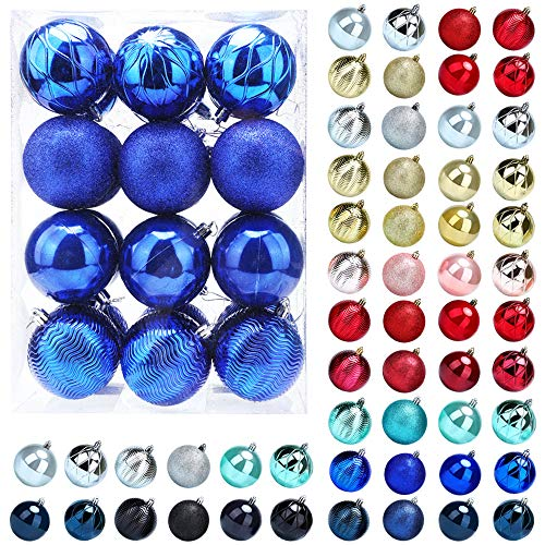 Christmas Balls Ornaments for Xmas Tree, 24ct Plastic Shatterproof Baubles Colored and Glitter Christmas Party Decoration 3.15 inch Set (Blue)