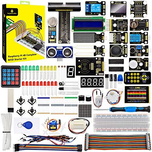 KEYESTUDIO Starter Kit für Raspberry Pi 4 4B / 3B / 2B, komplettes GPIO T-Breakout Borad, RFID, LCD, OLED-Display, LED-Matrix-Komponenten für Anfängerprogrammierung(Ohne Steuerplatine)