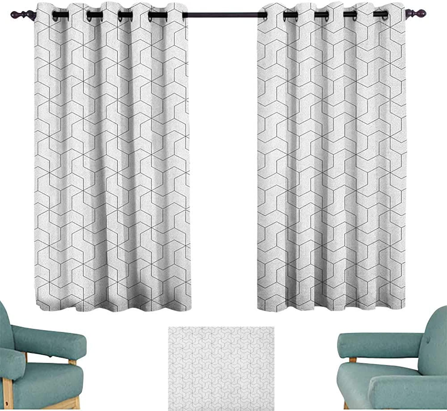 Anzhutwelve Black and White,Kids Decor Indo Curtain Drape Geometric Arrangement with Monochrome Design Lines and Optical Illusion 42 X63  Patterned Drape for Door
