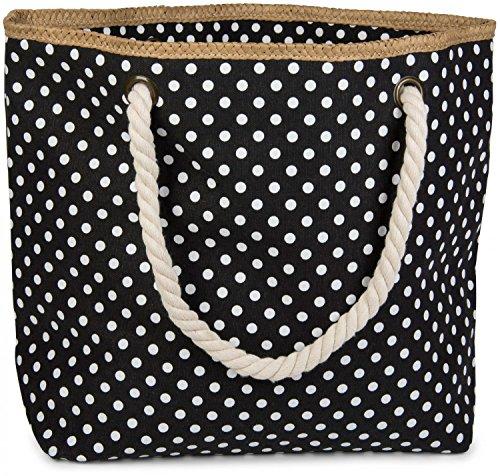 styleBREAKER strandtas met puntpatroon en rits, kleine cosmetische tas, shopper, dames 02012062, Farbe:Zwart-wit