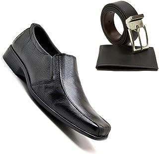 Sapato Masculino Derby Italino + Carteira Preta E Cinto Dupla Face Brinde