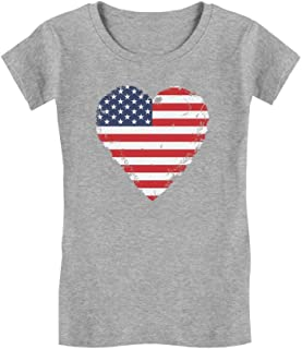 Love USA 4th of July American Heart Flag Toddler/Kids Girls' Fitted T-Shirt