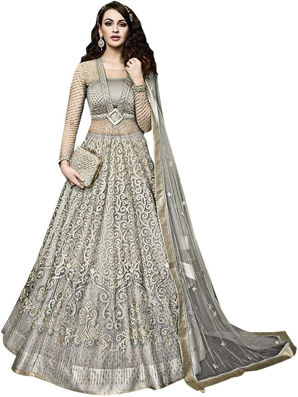 Bollywood Collection Anarkali Salwar Kameez Suit Ceremony Women Bridal Muslin 734 7
