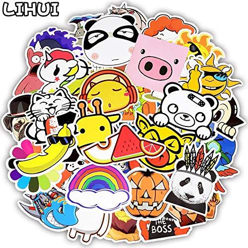 Blourstickers in cartoon-stijl, diermotief, voor kinderen, om te knutselen, skateboard, laptop, gitaar, koffer, motorfiets, auto, 50 stuks