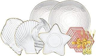 مجموعة أواني الطعام الفاخرة، 6 قطع مجموعة أطباق عشاء من سلسلة البحرية ، أطباق زجاجية كريستال ، أطباق حلوى على شكل صدفة ، أ...