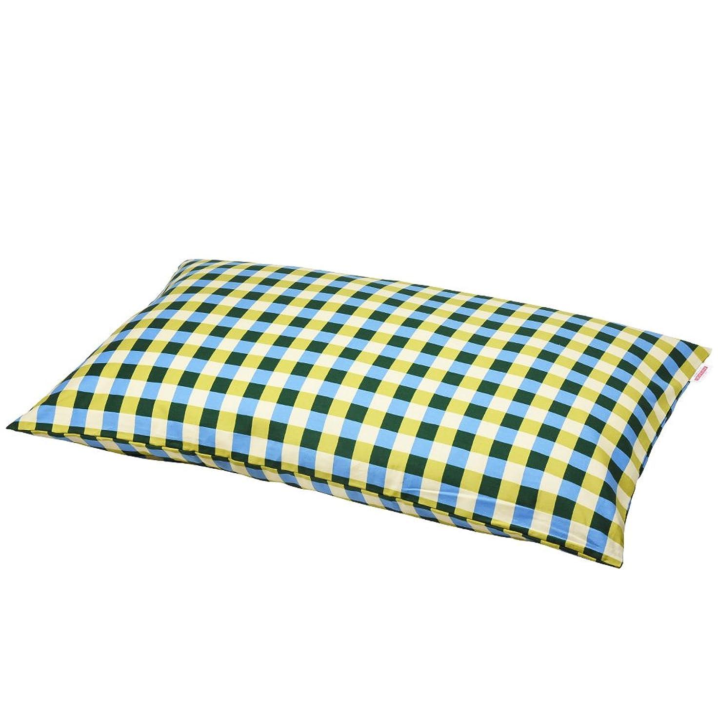 不機嫌そうな埋め込む取り扱い枕カバー 60×100cmの枕用 チェック綿100% ファスナー式 ぶつぬいロック仕上げ 日本製 枕 綿 ブルー
