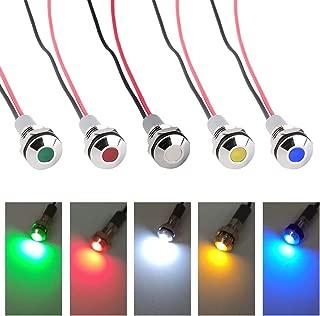 FICBOX 5pcs LED Metal Indicator Light 6mm 1/4