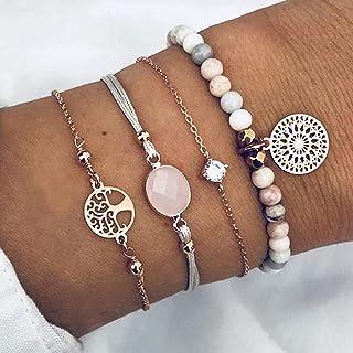Branets Boho hohle Armbänder Gold Layered Baum des Lebens Armband-Set Kristall Hand Kette Schmuck Zubehör für Frauen und M...