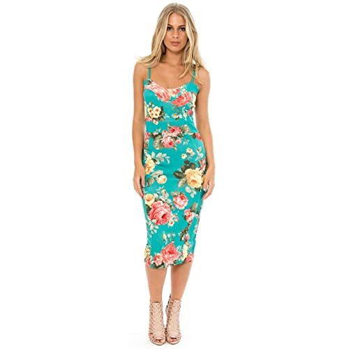 641083adac1 Crazy Girls Ladies Strappy Floral Flower Print Knee Length Women s Bodycon  Fitted Midi Dress