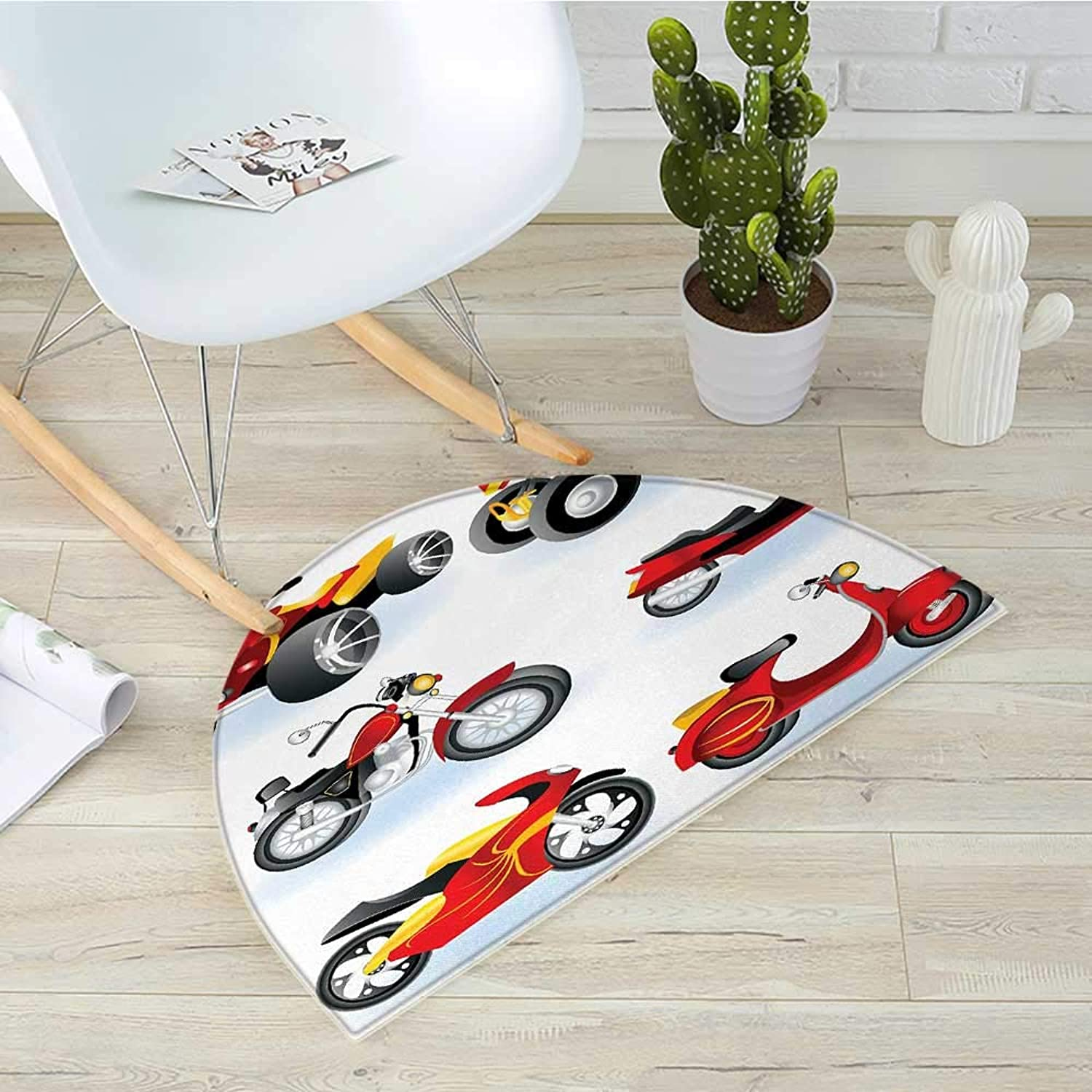 Motorcycle Semicircle Doormat Motorcycle Icons Sportsman Competition Amusement Leisure Cartoon Illustration Halfmoon doormats H 39.3  xD 59  Black Yellow