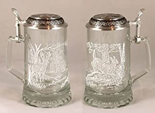 JAMES MEGER GLASS WHITE TAIL DEER STEIN, Etched German Glass Beer Stein w/ Pewter Lid, Made in Germany