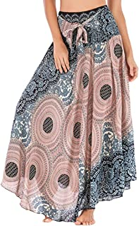 ZSBAYU Women's Sexy Vintage Long Boho Large Sarong Dress, Cover Up Wrap Beachwear Elastic Waist Floral Halter Skirt