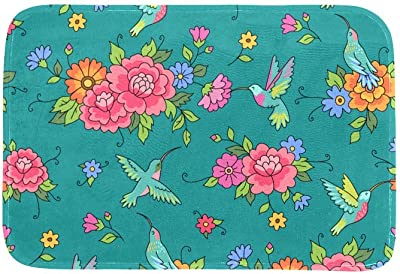 EGGDIOQ Doormats Floral Pattern Colibri Custom Print Bathroom Mat Waterproof Fabric Kitchen Entrance Rug, 23.6 x 15.7in