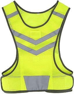 Reflektierende Warnweste, Reflektorweste Sicherheitsweste Fahrrad Radfahren Einstellbare Hoch Sichtbarkeit Sportarten Jacke für Laufen Wandern Trittfläche Frau Mann, Gelb Fluoreszierend