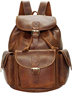 Mens Leather Bag Men's Handmade Crazy Horse Leather Retro Laptop Backpack Shoulder Bag Travel Bag Bag (Color : Brown, Size : S)