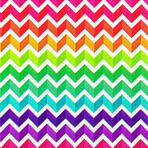 20 servetten Rainbow Chevron - regenboog zigzag/patroon 33x33cm