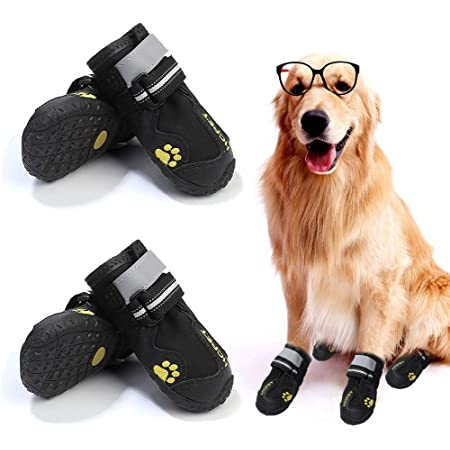 Dog Leather Shoes Reflective Shoes Waterproof Thermal Plush Booties Reflective Boots Soft Sole Paw Care Booties Boots for Small Dogs