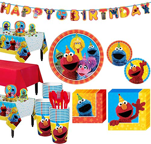Party City Sesame Street Kids Birthday Party Supplies for 24 Guests, Includes Table Covers, Favor Bags, Banner Kit