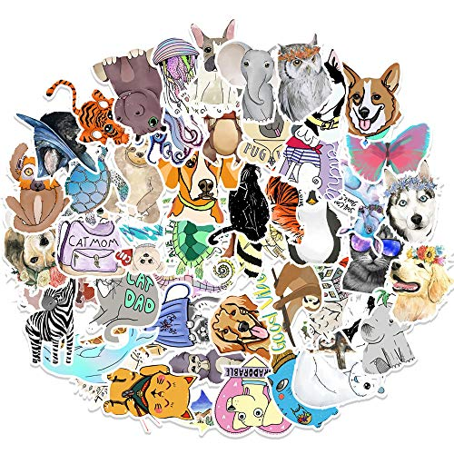 YZFCL Cute Cartoon Animal Sticker Suitcase Refrigerator Cell Phone Water Cup Sticker Waterproof 50 Sheets