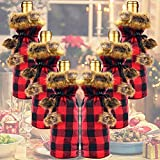 6 Pieces Christmas Buffalo Plaid Wine Bottle Covers, Wine Bottle Holder Sweater with Faux Fur Collar Wine Bottle Pouch Bags For Xmas Dinner Party Decoration