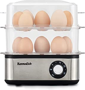 Kennedich 16 Capacity Electric Egg Cooker Hard Boiled, Poached, Scrambled Eggs, or Omelets with Auto Shut Boiled Egg Maker for Soft, Medium, Hard Boiled Eggs