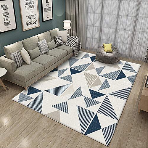 Geometric Wohnzimmer Teppich SchöNer Teppich Teppich Zu Hause Blauer WeißEr Rechteckiger Kurzer Wollteppich Mit Dreiecksmuster - Blau Weiß_140 * 200Cm
