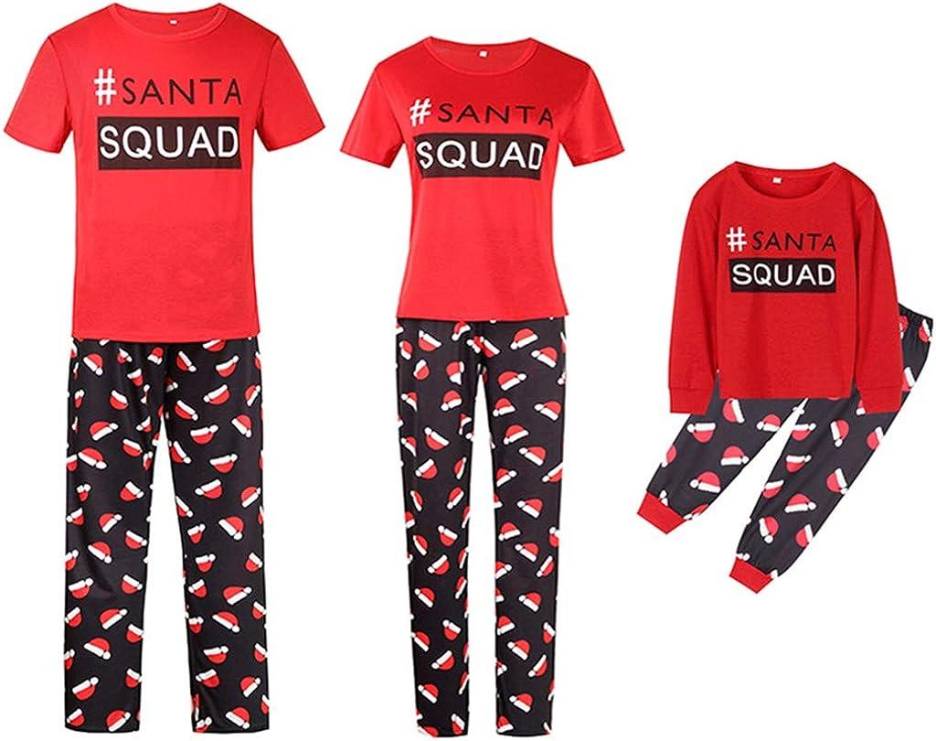 Christmas Family Matching Pajamas Set Santa Squad Print Tops and Pants Pajama PJS Sets Sleepwear for Family