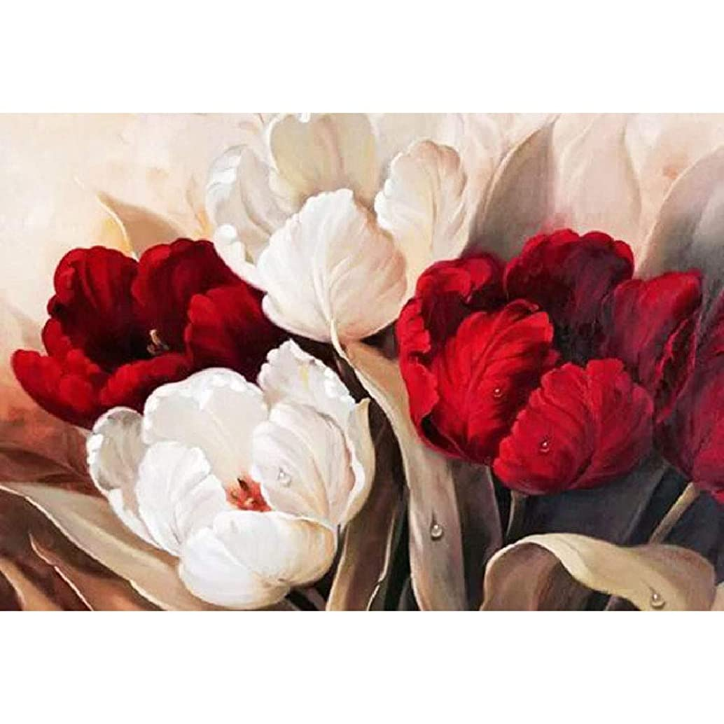DIY Handwork Store 5D Full Round Diamond Painting by Numbers DIY Mosaic Cross Stitch Pattern Handmade Embroidery Painting Wall Decor-Red and White Tulip(24.41''x 17.72'')