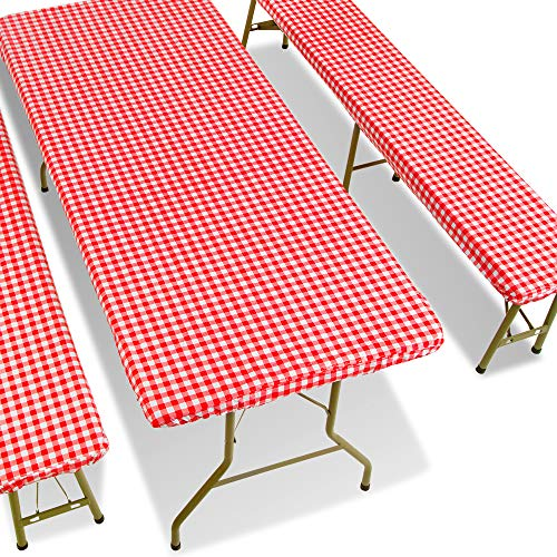 Fitted Picnic Table Cover with Picnic Bench Covers Picnic Fitted Tablecloth and Seat Covers Tablecloth for Picnic Table Camping Picnic Table Bench Elastic Covers 72X28 Inch Red 3 Piece Set