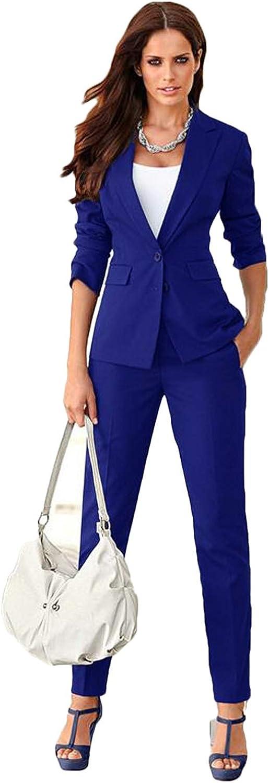 Womens Business Suits 2 Piece Blazer Set Slim Fit FemaleTrouser Suits Royal Blue