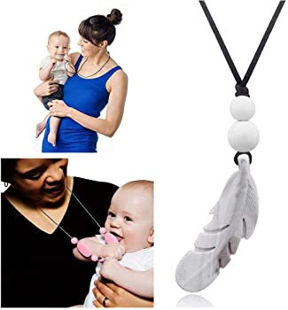 Designer Feather Teething Chew Beads Pendant Necklace for Mom,Baby Necklace Teether Toys,100% Silicone BPA Free,16 In...