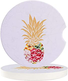 Absorbent Car Coasters for Cup Holders Tropical Fruit Pineapple, Small 2.56inch Ceramic Stone Drink Coaster for Women Men,...