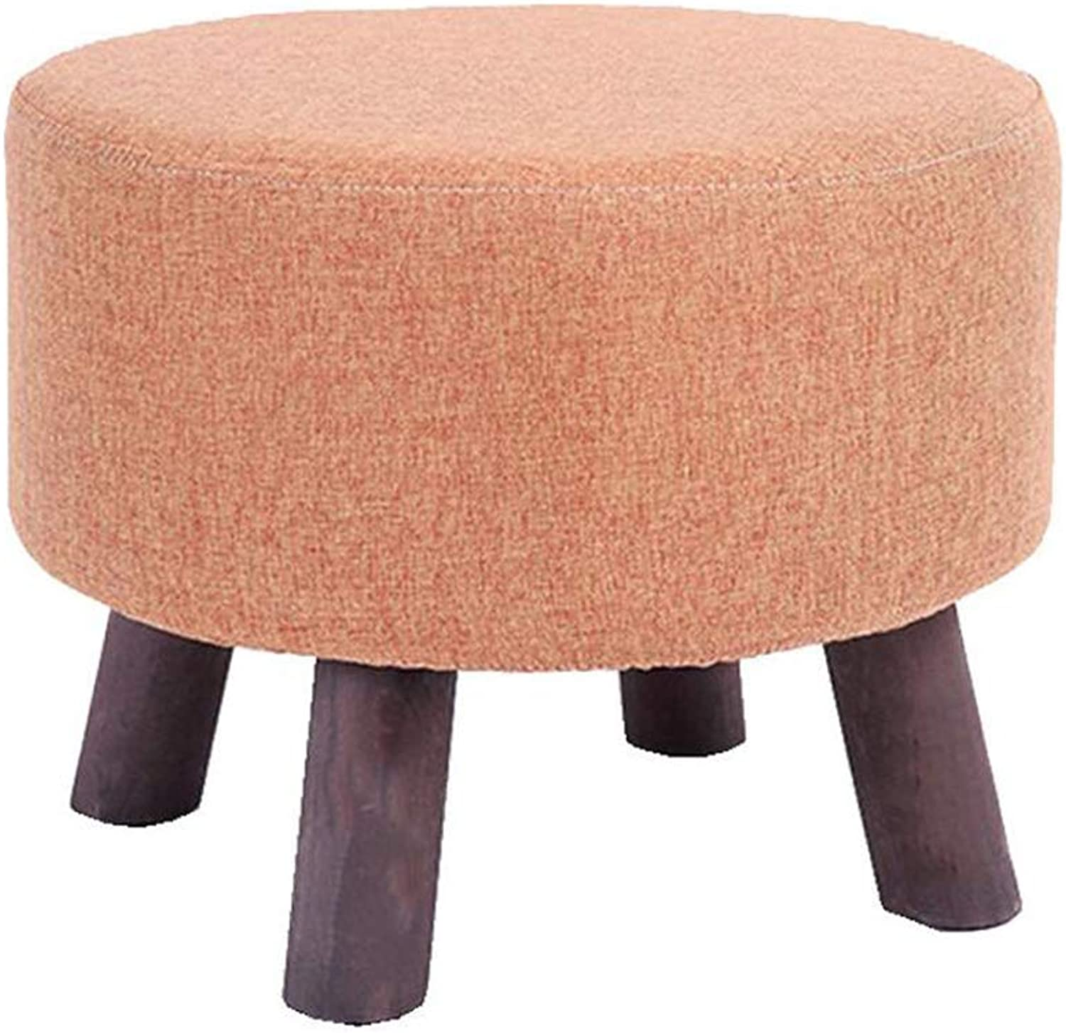 Small Stool Simple and Creative Wooden Sofa Bench shoes Stool Soft Linen Fabric Seat 4 colors Optional (color   orange)