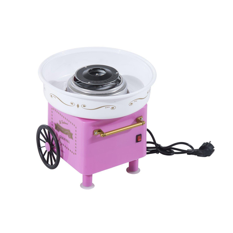 HOMCOM Máquina de Algodón de Azúcar Eléctrica Profesional Estilo Retro Regalo Infantil para Fiestas Cumpleaños Acero Inox. Aluminio 450W Cotton Candy Machine 30x30x28cm: Amazon.es