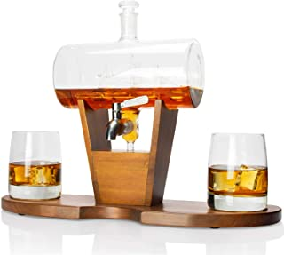 Atterstone Cylinder Ship Whiskey Decanter Set, Full Liquor Decanter Set with 2 Whiskey Glasses, Decanter Stand, 9 Whiskey Sipping Stones and Funnel, 1150-ml