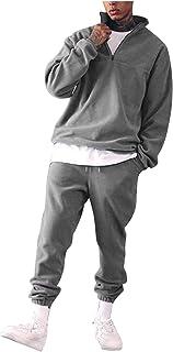 Tuta Sportiva da Uomo Moda Tinta Unita Maglione con Colletto in Piedi Casual