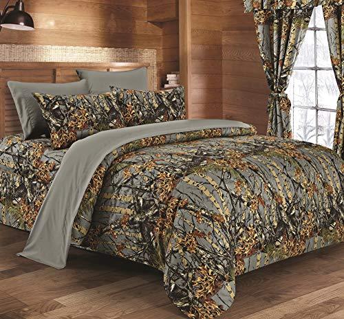 Regal Reversible Woodland Camo Comforter Comfort.(Gray, Queen/Full Size)