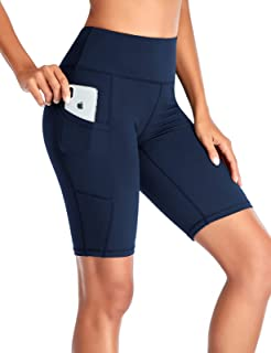 """SEVEGO Women's 10"""" Inseam Yoga Shorts with Pockets High Waist Tummy Control Print Workout Running Tights"""
