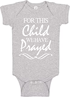 Reaxion Handmade Cute Baby Boy & Girl Christening or Baptism Bodysuits for This Child We Have Prayed