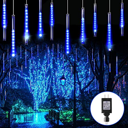 Blingstar Meteor Shower Lights 30CM 10 Tubes 240 LED Christmas Lights Plug in Snowfall LED Lights Outdoor Waterproof Falling Rain Lights for Tree Holiday Porch Yard Patio Roof Party Decoration, Blue