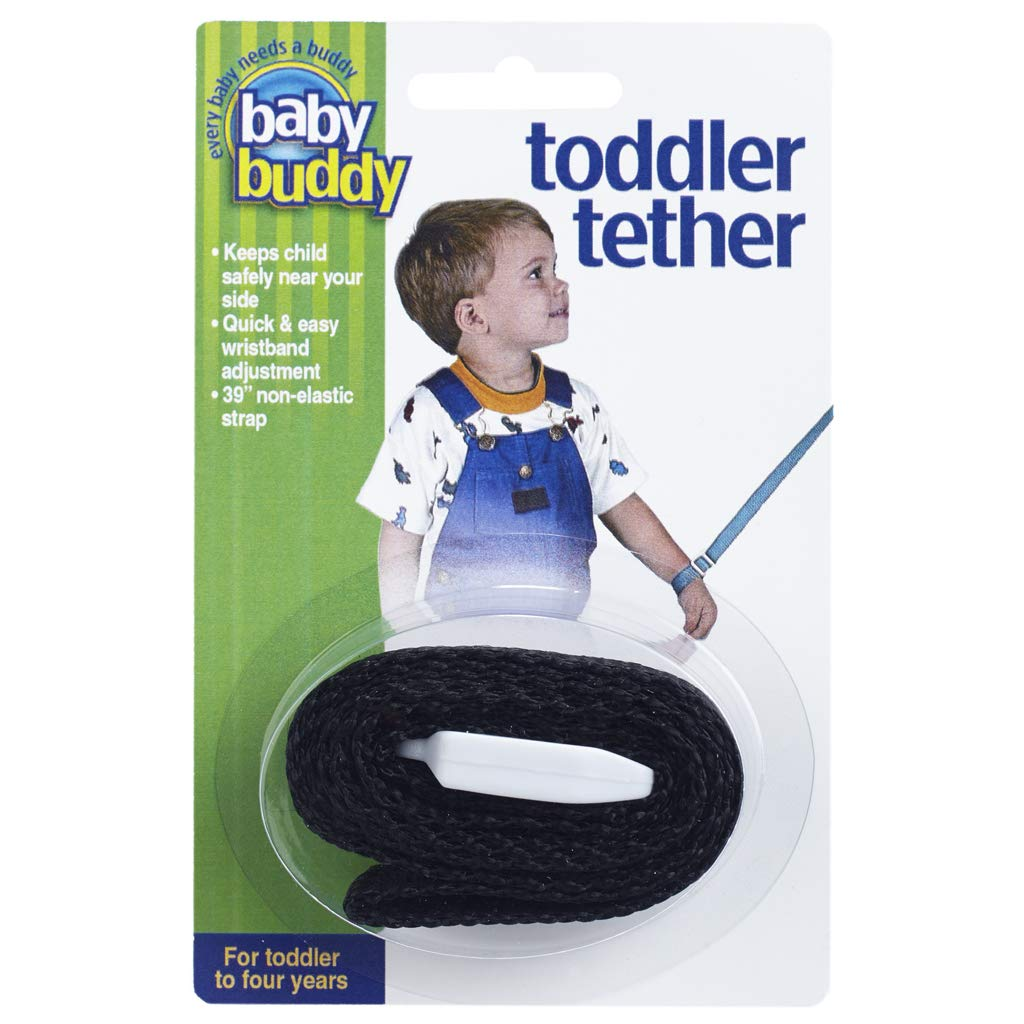 Baby Buddy Toddler Tether, Adjustable Safety Wrist Leash for Toddlers, Children, Kids, Keep Safely Nearby, Black, 2 Count