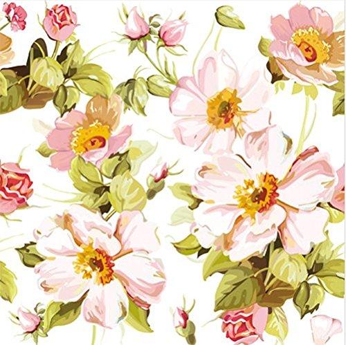 Tovaglioli stampati con motivo a Fiori in colori pastello-bianco, a 3 veli, 33 x 33 cm, confezione da 20