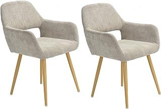 MEUBLE COSY tyg matrumsstolar, stolar med armstöd och skandinavisk design armstödsstol beige, metall, 56 x 56 x 78 cm