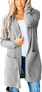 Women's Loose Long Cardigan Knitted Hooded Cardigan with Pockets Coat Tops