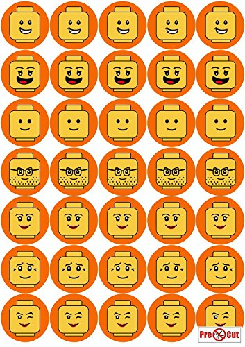 35 x Pre Cut Minifigure Faces Kuchen, Cupcake Topper/Dekoration Essbar Wafer Papier