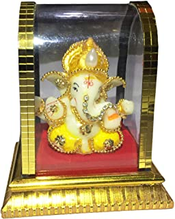 Acrylic Ganesh Statue in Glass, Ganesha Idols for Home and Office and Car Decor (Gold)