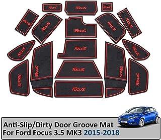 SYJY SHOP Auto Tür Slot Pad Gummimatten Nur for Ford Focus 3/3.5 MK3 / ST RS / 2015 2018 Anti Rutsch Innentür Pad Dekorationen Set Ersatz (Farbe : Blau)
