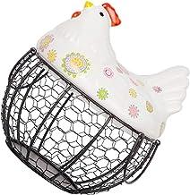 TOPBATHY Metal Egg Basket White Ceramic Chicken Top Fruit Stand Vegetables Serving Bowls Farmhouse Decor Wire Basket Creat...